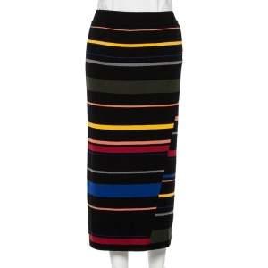 Stella McCartney Black Striped Wool Paneled Fitted Midi Skirt L