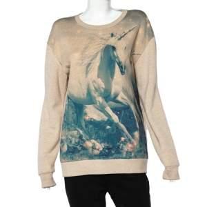 Stella McCartney Light Pink Unicorn Printed Cotton & Wool Sweatshirt L