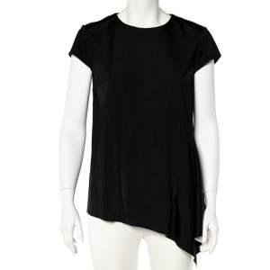 Stella McCartney Black Jersey Draped Short Sleeve Top L