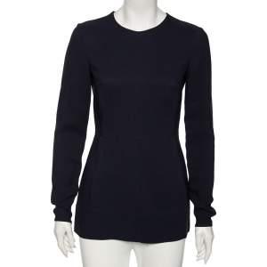 Stella McCartney Navy Blue Cady Long Sleeve Peplum Blouse S