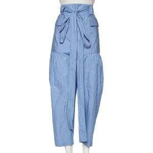 Stella McCartney Blue Striped Cotton Belted Poplin Pants L