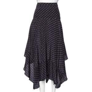 Stella McCartney Navy Blue Printed Silk Asymmetrical Midi Skirt M