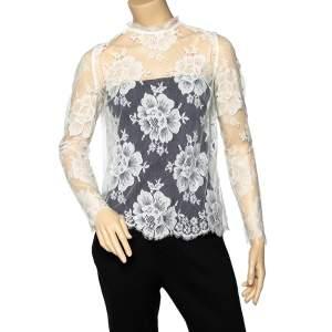 Stella McCartney White Lace Fringed Sheer Top S