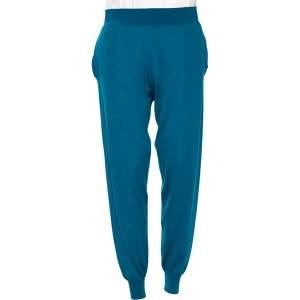 Stella McCartney Bright Blue Wool Cinched Waist & Hem Detail Pants M