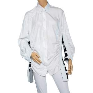 Stella McCartney White Striped Cotton Contrast Rib Knit Trim Shirt M