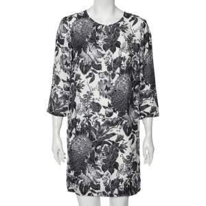 Stella McCartney Monochrome Floral Printed Silk Short Dress M