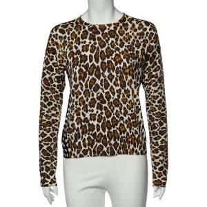 Stella McCartney White Leopard And Check Print Wool Long Sleeve Sweater M