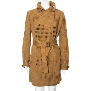 Stella McCartney Brown Eyelet Embroidered Cotton Belted Trench Coat M
