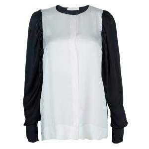 Stella McCartney Monochrome Gathered Sleeve Silk Blouse M