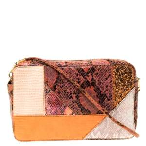 Stella McCartney Multicolor Faux Exotic Leather and Glitter Waverly Shoulder Bag