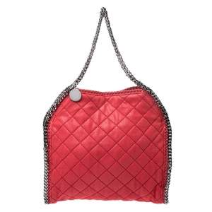 Stella McCartney Red Quilted Faux Leather Small Falabella Tote