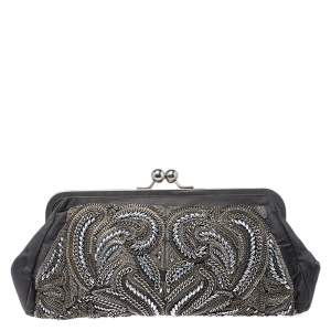 Stella McCartney Grey Satin Chain Embroidered Kiss Lock Clutch