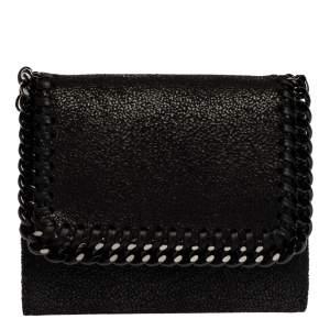 Stella McCartney Black Faux Leather Falabella Trifold Wallet