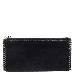 Stella McCartney Black Faux Leather Falabella Zip Wallet