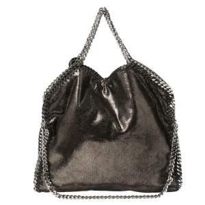 Stella McCartney Metallic Black Faux Leather Falabella Tote