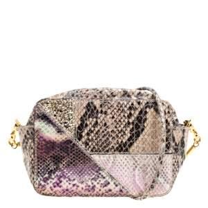 Stella McCartney Beige Python and Lizard Effect Faux Leather Crossbody Bag