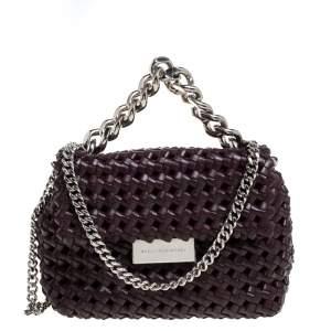 Stella McCartney Dark Burgundy Woven Faux Leather Mini Brandy Becks Top Handle Bag