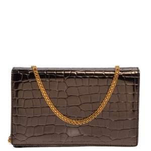 Stella McCartney Metallic Grey Croc Embossed Faux Leather Crossbody Bag