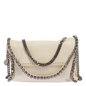 Stella McCartney White Faux Leather Mini Crystal Trim Falabella Shaggy Deer Shoulder Bag