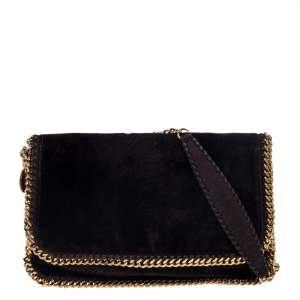 Stella McCartney Brown Snake Embossed Velvet Flap Shoulder Bag