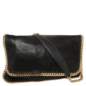 Stella McCartney Black Faux Leather Falabella Flap Shoulder Bag