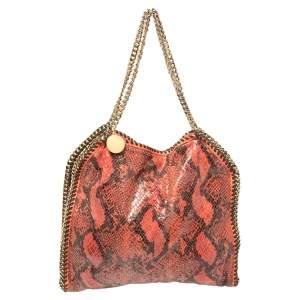Stella McCartney Orange/Black Python Effect Faux Leather Falabella Tote