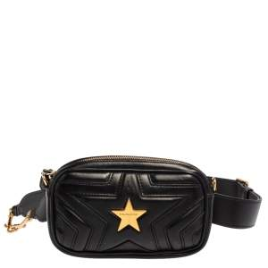 Stella McCartney Black Faux Leather Stella Star Belt Bag