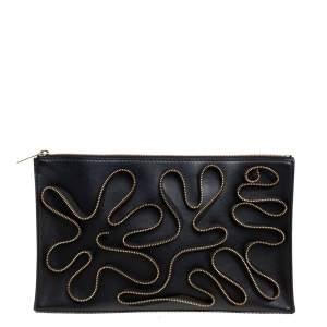 Stella McCartney Black Faux Leather Zipper Embellished Cavendish Clutch
