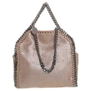 Stella McCartney Metallic Beige Faux Leather Tiny Falabella Shoulder Bag