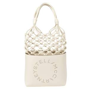 Stella McCartney White Faux Leather Logo Knotted Bucket Bag