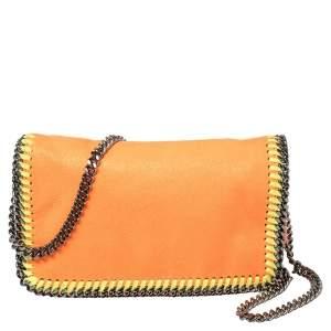 Stella McCartney Neon Orange Faux Leather Falabella Flap Crossbody Bag