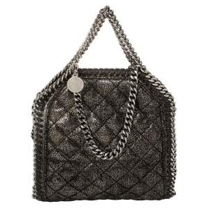 Stella McCartney Metallic Black Faux Suede Falabella Crossbody Bag