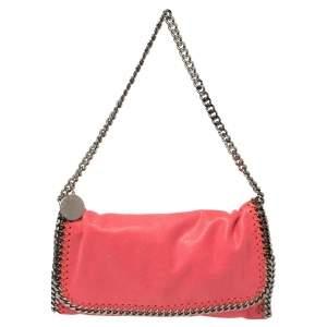 Stella McCartney Coral Orange Faux Suede Falabella Flap Shoulder Bag