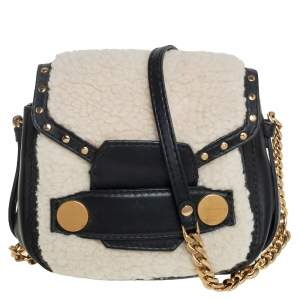 Stella McCartney Black/White Faux Fur and Leather Popper Shoulder Bag