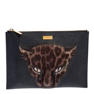 Stella McCartney Black/Brown Faux Leather and Calfhair Leopard Clutch