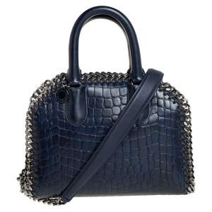 Stella McCartney Blue Croc Embossed Faux Leather Small Falabella Top Handle Box Bag