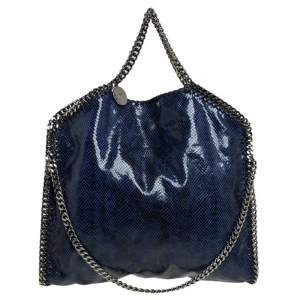 Stella McCartney Blue/Black Faux Python Embossed Leather Small Falabella Tote