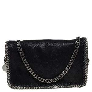 Stella McCartney Black Faux Leather Falabella Flap Crossbody Bag