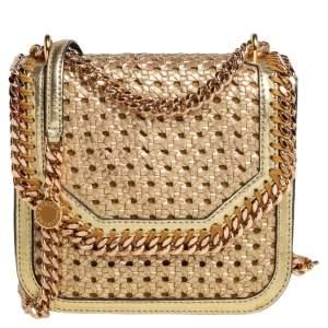 Stella McCartney Metallic Gold Woven Faux Leather Medium Falabella Box Shoulder Bag