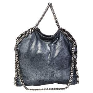 Stella McCartney Metallic Blue Faux Leather Small Falabella Tote