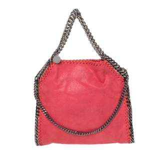 Stella McCartney Coral Red Faux Suede Falabella Shoulder Bag