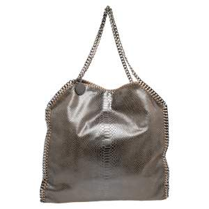 Stella McCartney Brown Faux Python Embossed Leather  Falabella Tote