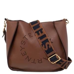 Stella McCartney Brown Faux Leather Logo Shoulder Bag