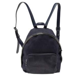 Stella McCartney Dark Blue Faux Suede Falabella Backpack
