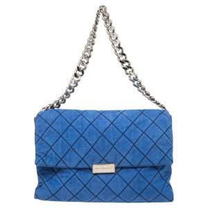 Stella McCartney Blue Quilted Faux Suede Beckett Shoulder Bag