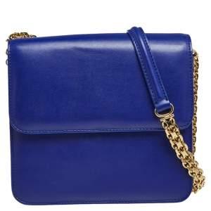 Stella McCartney Blue Faux Leather Chain Crossbody Bag