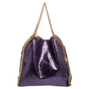 Stella McCartney Metallic Purple Faux Python Leather Large Falabella Tote