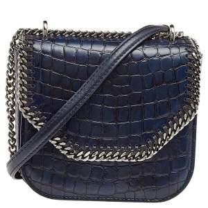 Stella McCartney Navy Blue Croc Embossed Faux Leather Falabella Star Box Bag