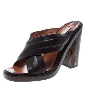 Stella McCartney Brown Quilted Faux Leather Veneer Criss Cross Block Heel Mules Size 39