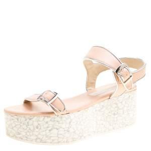 Stella McCartney Beige/Silver Faux Leather Geena Marble Platform Sandals Size 38